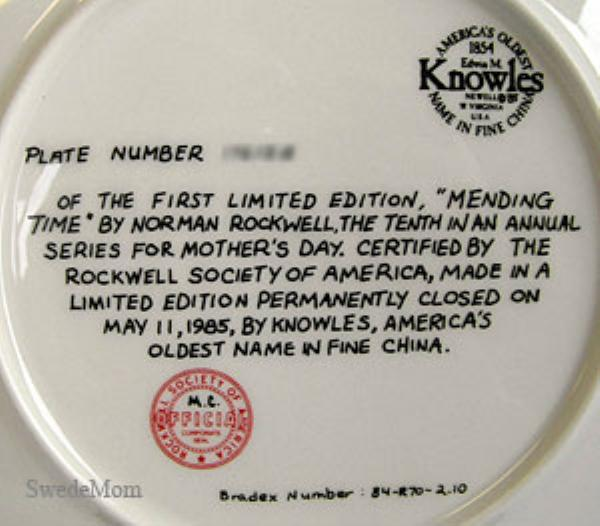 NORMAN ROCKWELL Plate MENDING TIME Knowles 1985
