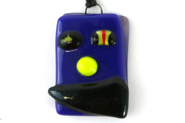 Modern Art Deco Glass Pendant Necklace With Black Cord