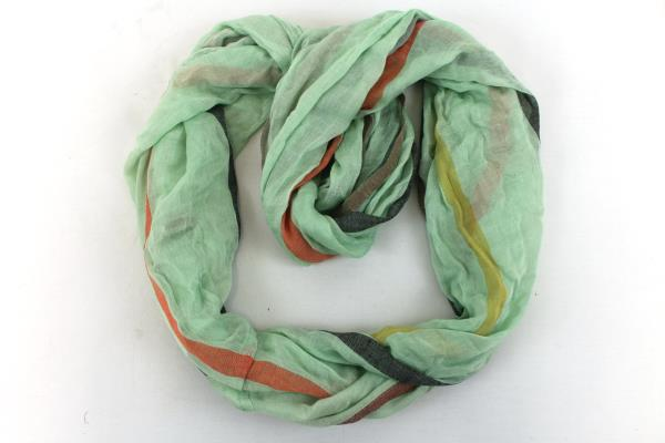 LOF Love of Fashion New York-  Infinity Scarf Light Green and Stripes NWT