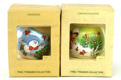 Hallmark Unbreakable Satin Ornaments - Granddaughter/Grandson - Dated 1979/1980