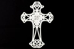 """8""""  White Metal 25th Anniversary Wall Cross Plaque NIB"""