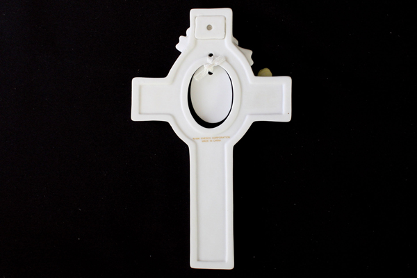 Ceramic In His Light Confimation Cross With Yellow Butterfly