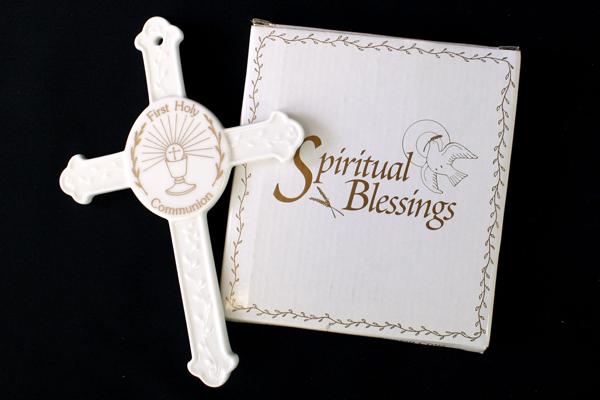 First Holy Communion Spiritual Blessings Fine Bone China Wall Cross
