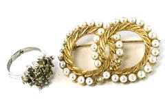 Vintage Faux Pearl Brooch And Adjustable Rhinestone Ring