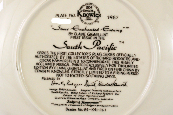Some Enchanted Evening South Pacific Collector Plate Knowles Elaine Gignilliat