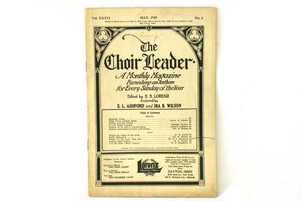 May 1929 Choir Leader Monthly Magazine E. S. Lorenz