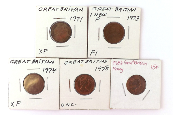 Lot Of Five 1 Penny Coins From The United Kingdom