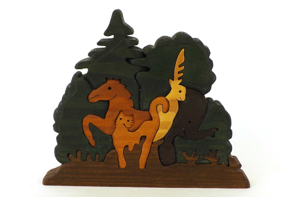 Nine Piece Carved Wood Animal Puzzle