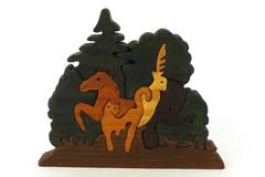 Nine Piece Carved Wood Animal Puzzle
