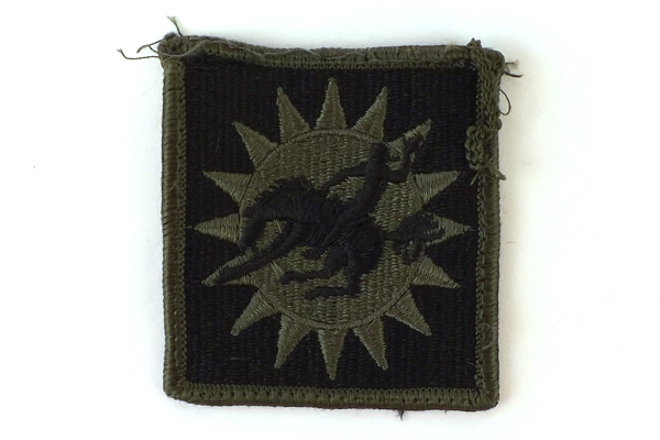 Square Olive Green And Black Bucking Bronco Patch