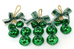 Lot of 14 Shiny Green Jingle Bell Ornaments and Light Covers