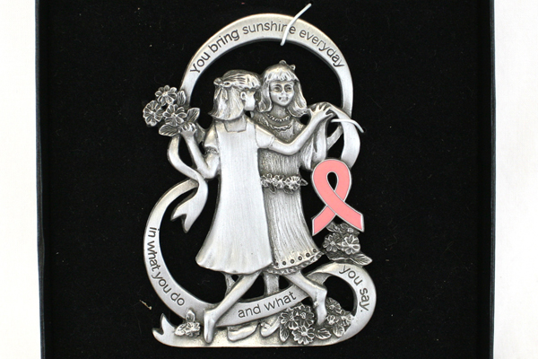 You Bring Sunshine Everyday Pink Ribbon Breast Cancer Pewter Stand Display Piece