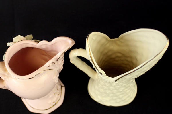 Lot Of Two Vintage Raised Flower Vases With Handles