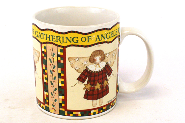 Debbie Mumm Sakura Gathering of Angels Mug 1997 Angel w/ Stars & Red Dress