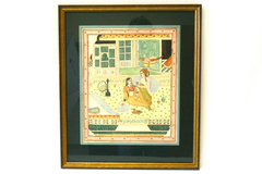 India Mughal Illuminated Manuscript Framed & Double Matted Art from FIJI
