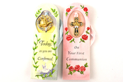 2 - Spiritual Two Tone Bookmarks Confirmation and Communion Dove and Cross