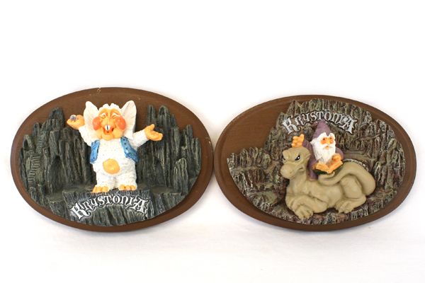 Lot Of Two Krystonia Plaques Poffles And A Dragon And Wizard