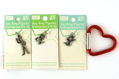 Lot of 4: Figi Family Matters Pewter Key Ring Figures With Carabiner Key Ring