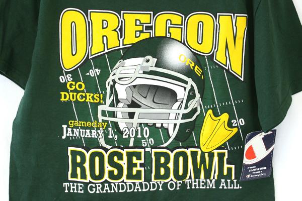 OREGON Rose Bowl Jan.1st 2010 Size M 100% Cotton Green T-Shirt w/ Champion Tag