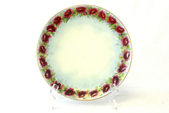 """8.25"""" Hand Painted Purple Rose Plate By J. & C. Bavaria"""