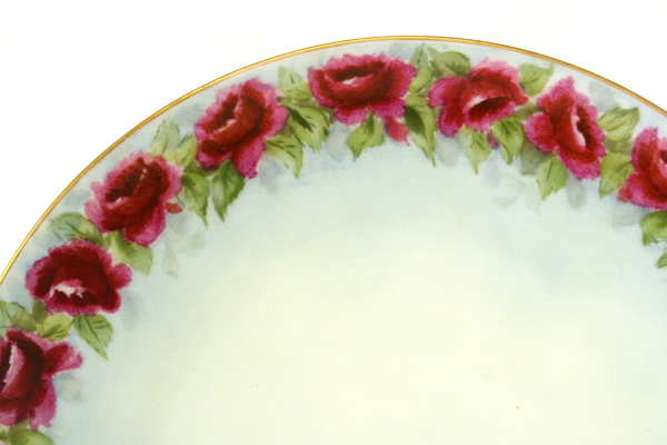 "8.25"" Hand Painted Purple Rose Plate By J. & C. Bavaria"
