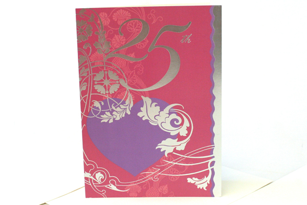 25th Silver Anniversary Greeting Card with Envelopes - Set of 3
