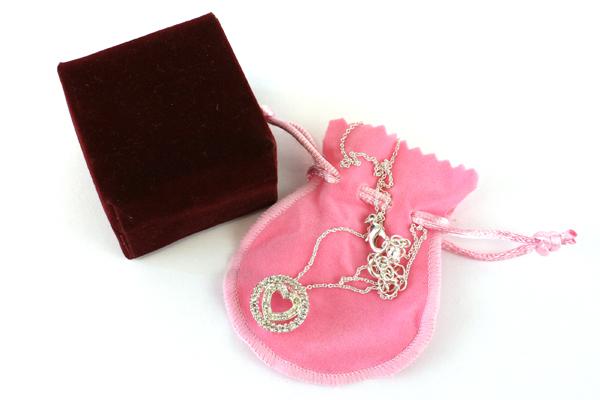 Rhinestone Silvertone Heart Shaped Pendant Necklace