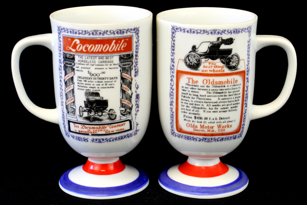 Set of 2 Footed Mugs Traditional Americana Arnart Locomobile & Oldsmobile