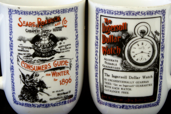 Traditional Americana Arnart Mugs w/ Vintage Ads - Ingersoll Watch & Sears