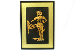 Real Bamboo Art Woman with Robe Wall Hanging In Black Wooden Frame