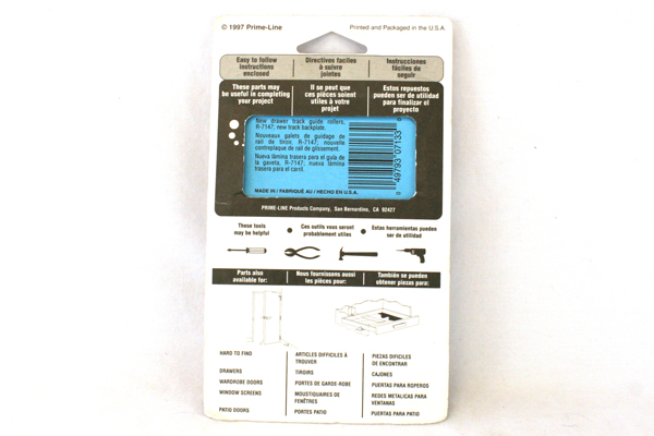 Prime-Line Window & Door Hardware R-7133 Drawer Track Back Plate White