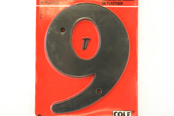 "6"" Black House Number #9 COLE Axxess Technologies Inc 1998 NIP"
