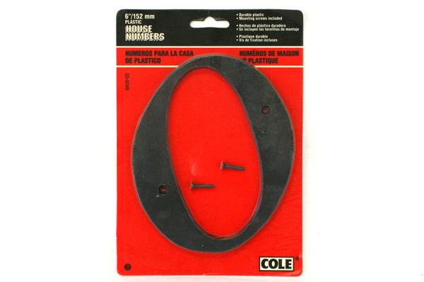 "COLE ATI 6"" Weather-Proof Flat Black House Number Zero 0"