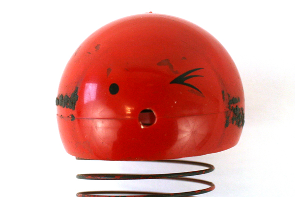 Vintage Red Plastic And Metal Spring Toy
