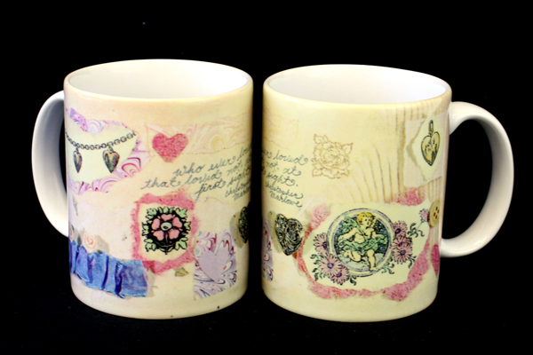 Lot of 2: Susan Zulauf Hearts and Thoughts Papel Freelance Coffee Ceramic Mugs