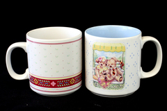 Lot of 2: Freelance Inc. Pink and White Floral & Applause Teddy Tum Tum Bear Mug