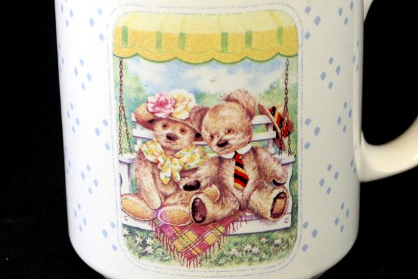 Lot of 2: Freelance Inc. Pink and White Floral & Applause Teddy Tum Tum Bear Mug