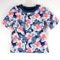 TOPSHOP T- Shirt Hawaiian Print Stretch Crew Neck Cropped Short Sleeve Size 2