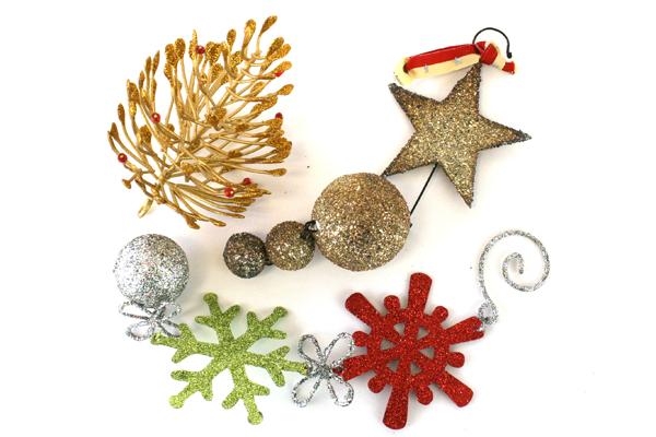 Lot of 3: Assorted Glitter Hanging Decorative Ornaments