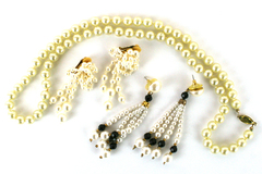 Lot of Faux Pearl Costume Jewelry Necklace and Two Pairs of Earrings