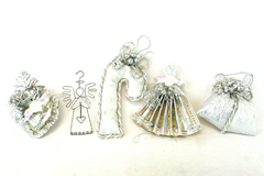 Lot of 5 Silver Colored Christmas Ornaments and Decorations