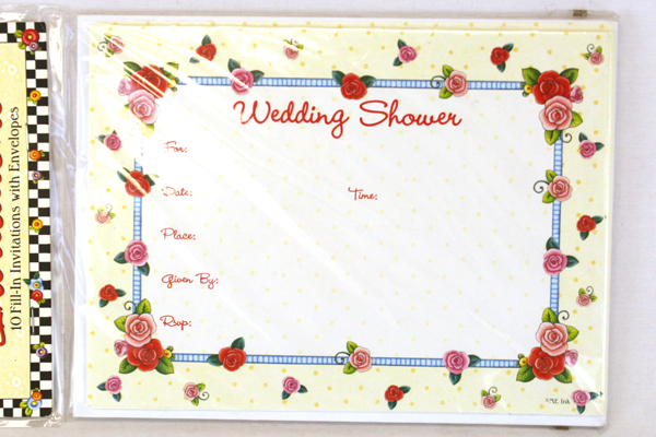 Package of 10 Mary Engelbreit Vintage Rose Wedding Shower Announcements