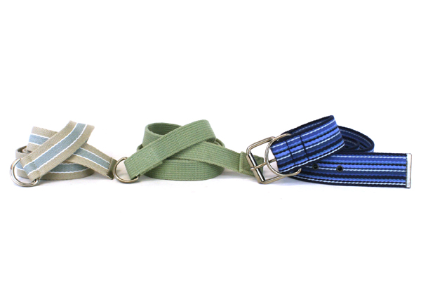 Lot of 3 Blue and Green Belts with Silver Colored Metal Buckles