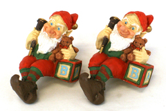 Lot of 2: Smiling Shelf Gnomes with Teddy Bears