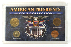 Four Piece American Presidents Coin Collection in Plastic Display Case