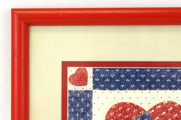 Life Is A Patchwork of Love Quilt Fabric Cream-Colored Matted Red Frame 10 x 13