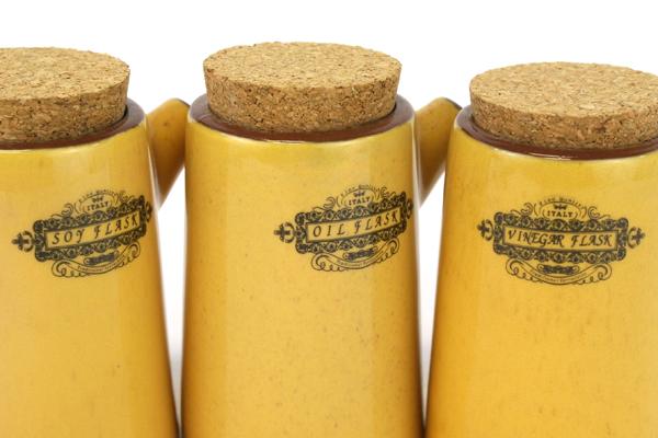 Set of 3 Home Decor Giftcraft Corked Ceramic Oil Vinegar Soy Flasks