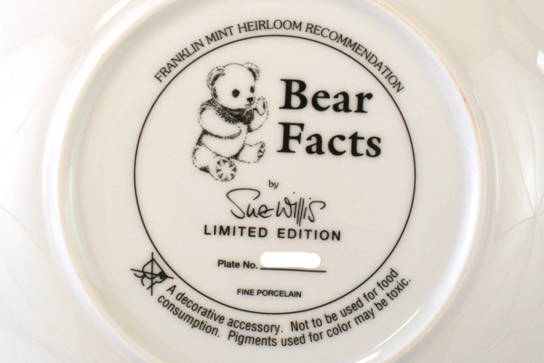 "Franklin Mint Limited Ed. Fine Porcelain Bear Facts by Sue Willis 8"" Plate"