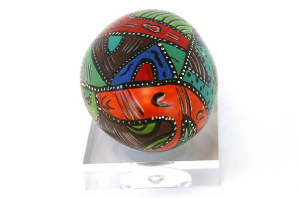 Hand Painted Art Deco Egg Shaped Paperweight With Stand