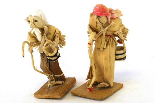 Lot Of Two Vintage Hand Made Raffia Dolls
